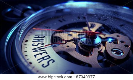 Answers on Pocket Watch Face. Time Concept.
