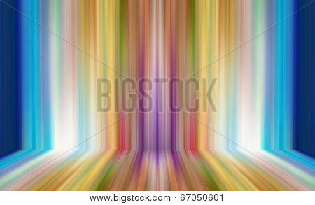 Abstract illustration background texture of light red, orange, yellow, green, purple, lilac and blue bright color gradient wall, flat floor, striped sides from metal in empty spacious room interior.