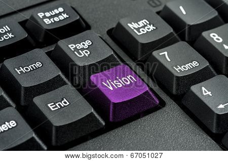 keyboard with the word Vision written on a button