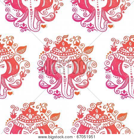 Seamless india elephant lord ganesh hindu god illustration background pattern