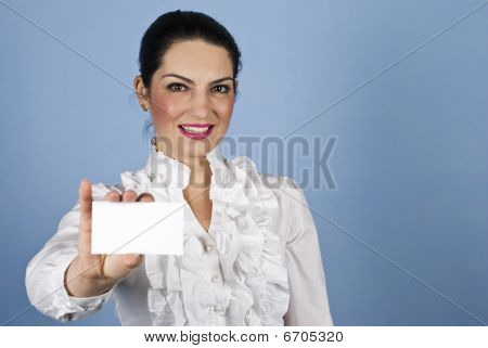 Cartão de visita de segurar A mulher