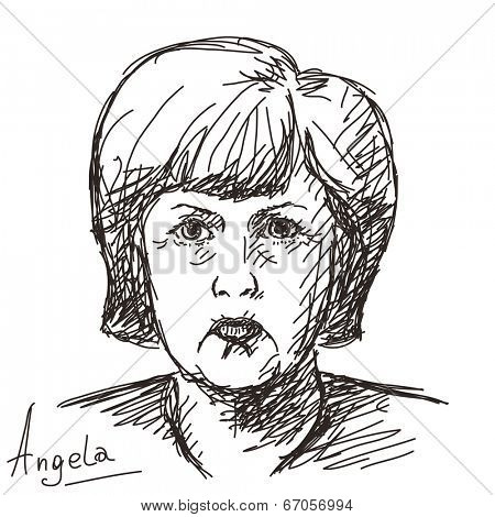 June 20, 2014 - Angela Merkel German politician. Hand drawn portrait, Vector illustration