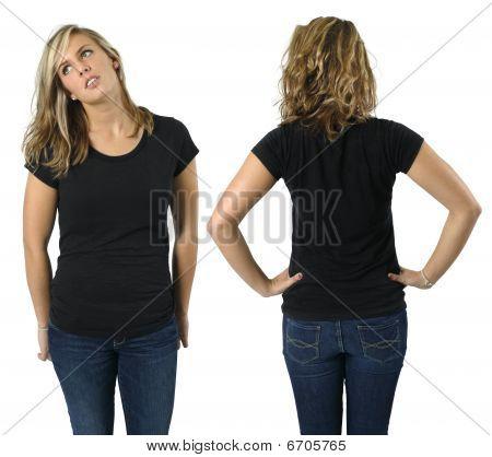 Female With Blank Black Shirt