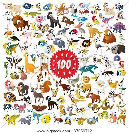 100 vector cartoon animals