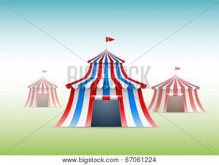 Vector illustration of circus tents.