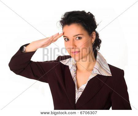Brunette Saluting Her Boss