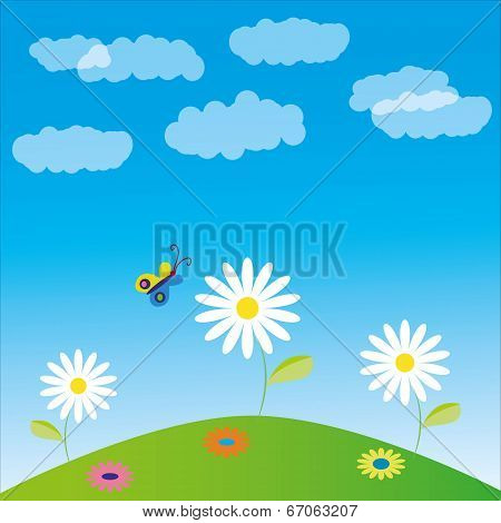 Vector illustration, glade, flowers and butterfly