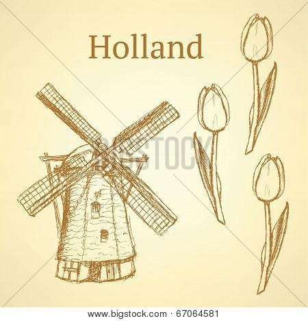 Sketch Holland Windmill And Tulip, Vector Background