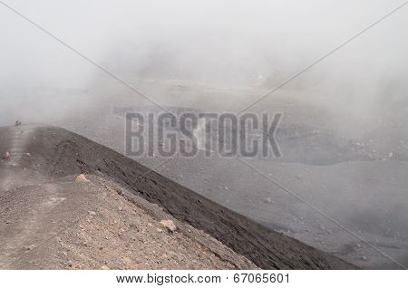 Small Crater Of Volcano Merapi In Clouds