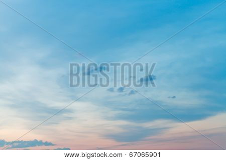 Pink And Blue Gloaming Sky In Summer