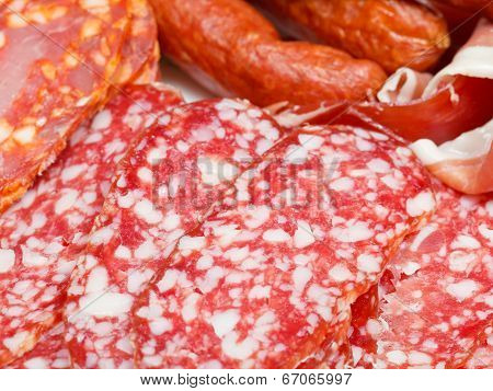 Various Sliced Meat Specialties On Plate
