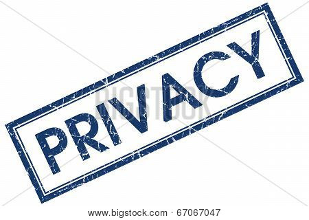 Privacy Blue Square Grungy Stamp Isolated On White Background