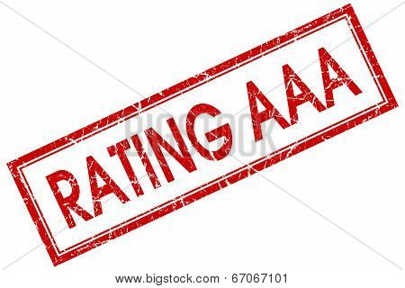 Rating Aaa Red Square Grungy Stamp Isolated On White Background