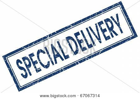 Special Delivery Blue Square Grungy Stamp Isolated On White Background