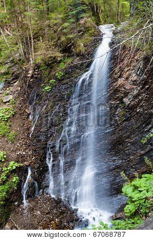Beautiful Waterfall In The Ukrainian Carpathians, Zhanetsky Guk