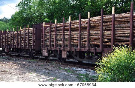 railway wagon with wood