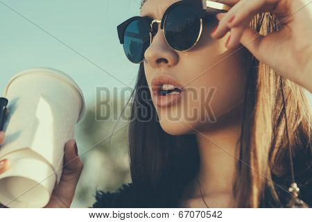 Beautiful Hipster Woman With Cup Of Coffee poster
