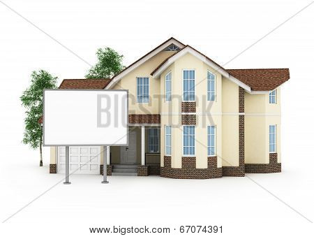 One Stylized House With An Empty Signboard