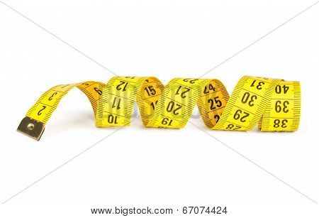 Measuring Tape. Isolated Over White.