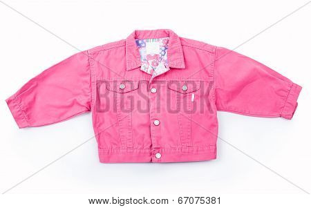 kids Jeans jacket on hanger isolated