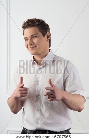 Handsome guy in white shirt