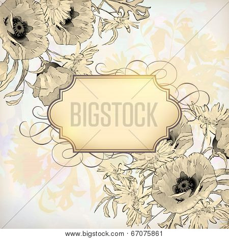 Vector Vintage Floral Invitation Card