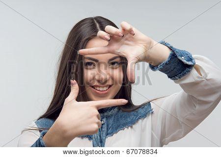 Horizontal portrait of emotional woman