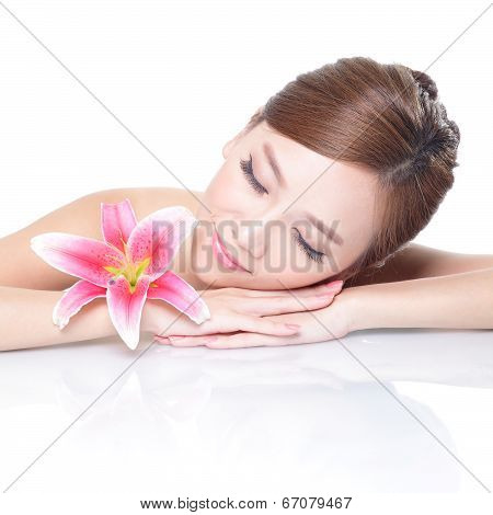Beauty Woman Face With Flower