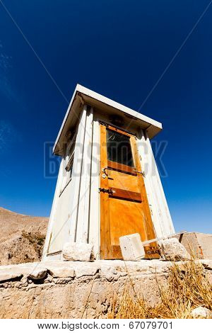 wooden toilet house in the mountain