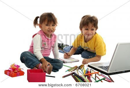 Childrens Students With Crayons And Computer.