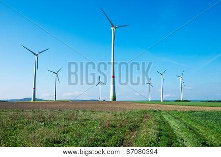 Windwheels in the fields