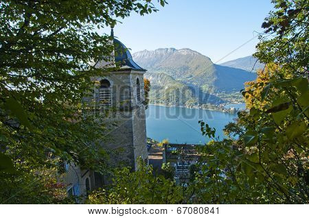 Church And Annecy Lake In Savoy, France