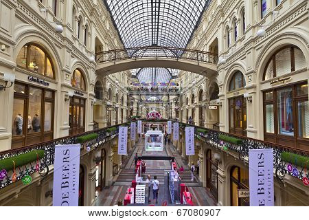 Inside famous GUM department store in Moscow.
