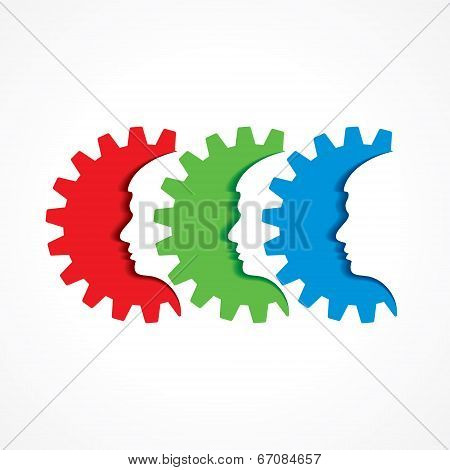 Male face with gear stock vector