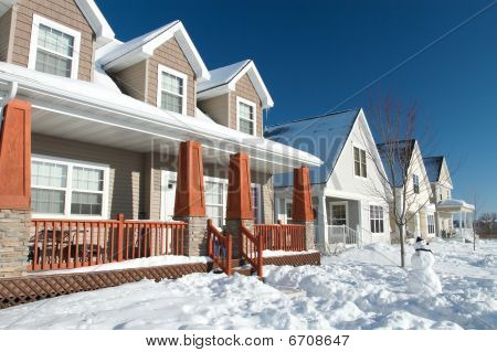 Winter neighborhood homes