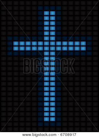 Cross of blue screens