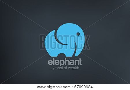 Elephant silhouette funny vector logo design. Animal icon. Fun zoo concept. Symbol of wealth