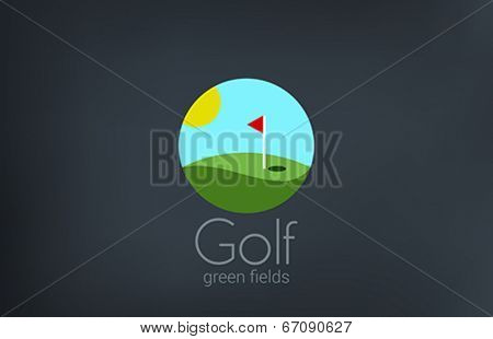 Golf club emblem vector logo design. Golf fields creative concept icon flat style.