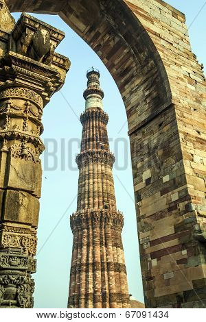 Qutub Minar Tower Or Qutb Minar, The Tallest Brick Minaret In The World