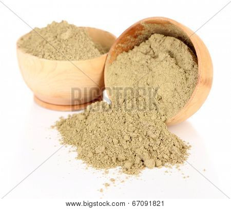 Dry henna powder in bowls, isolated on white