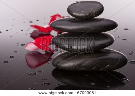Spa stone and flower petal still life. Healthcare concept.
