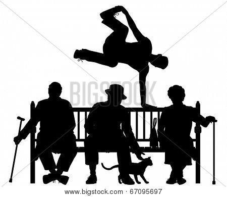 Editable vector silhouette of a young man vaulting over three elderly people on a park bench with all elements as separate objects