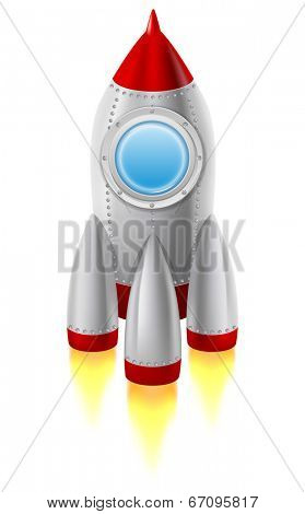 Space rocket takes off from the ground. Vector illustration, isolated on white background.