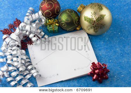 Christmas Card Silver Ribbon