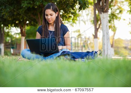 Using A Laptop Outdoors