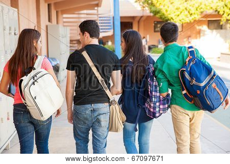 Students In A School Hallway