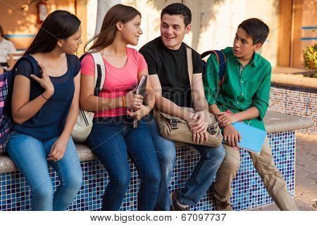 Teenage Friends At School