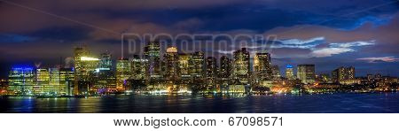 Boston Skyline Panorama At Night