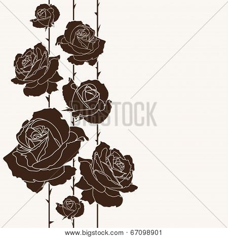Bouquet Of Roses, Seamless Background, Floral Design