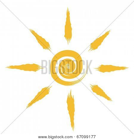 Abstract sun drawing isolated on white background.